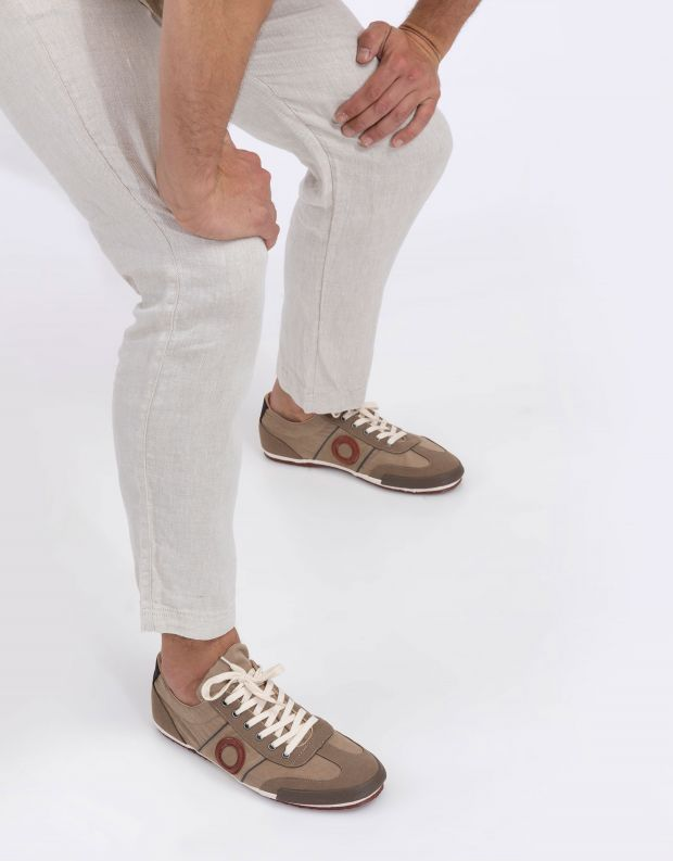 נעלי גברים - Aro - סניקרס בד MAY - חום בהיר