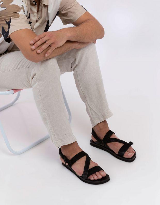 נעלי גברים - A.S. 98 - סנדלי עור SAKE - שחור