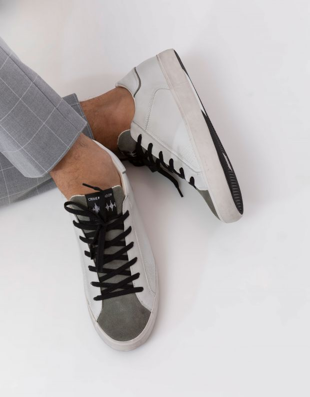 נעלי גברים - Crime London - סניקרס LOW TOP DISTRESSED - לבן   ירוק