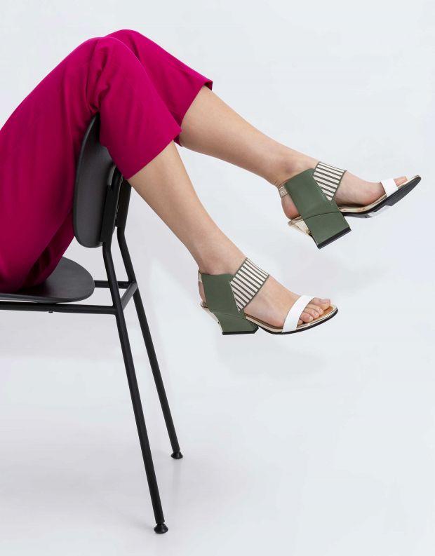 נעלי נשים - United Nude - סנדלי RAIKO - לבן   ירוק