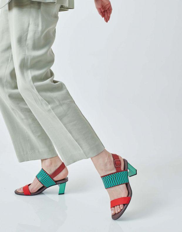 נעלי נשים - United Nude - סנדלי POP MID - אדום   ירוק