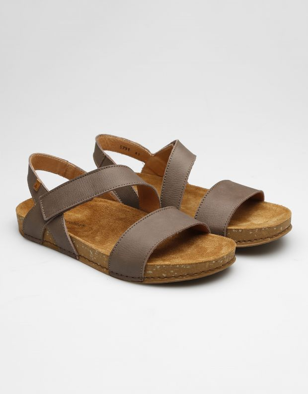 נעלי גברים - El Naturalista - סנדלי עור BALANCE - אפור