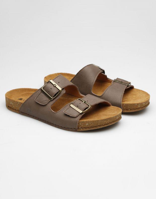 נעלי גברים - El Naturalista - כפכפי עור BALANCE - אפור