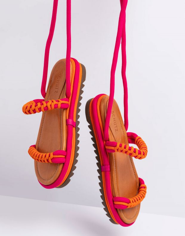 נעלי נשים - Schutz - סנדלי חבל פלטפורמה CLAIRE - פוקסיה
