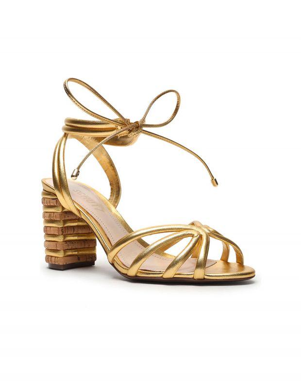 נעלי נשים - Schutz - סנדלי עקב עם קשירה LETY - זהב