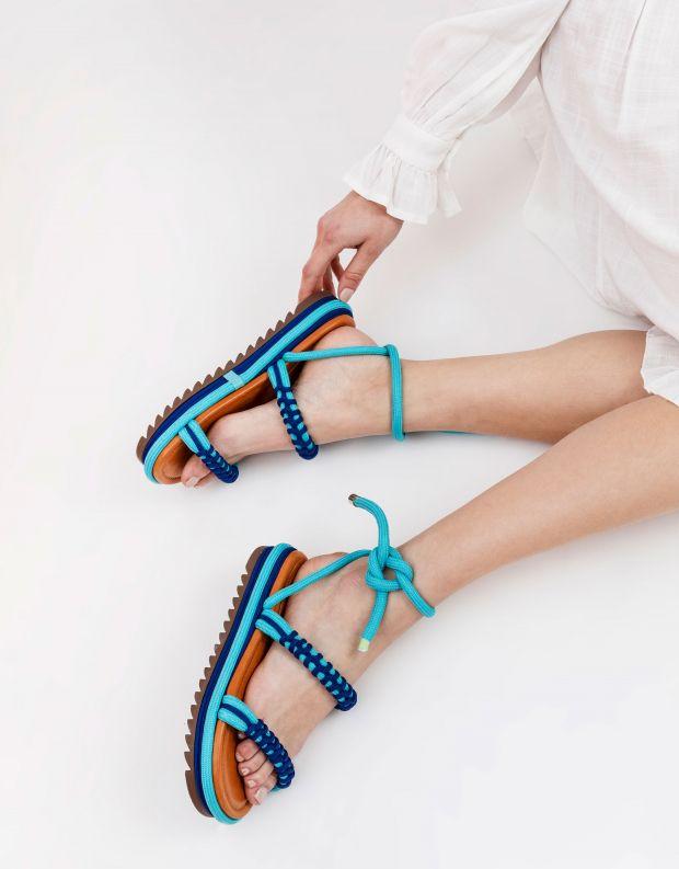 נעלי נשים - Schutz - סנדלי חבל פלטפורמה CLAIRE - כחול