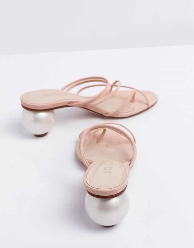 נעלי נשים - Schutz - כפכפי עקב עם רצועות KATIA - ורוד