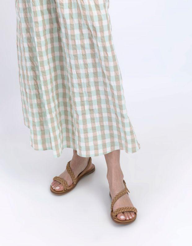 נעלי נשים - El Naturalista - סנדלי זמש עם צמה TULIP - חום