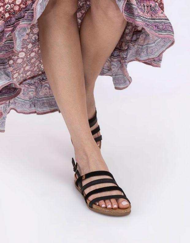 נעלי נשים - El Naturalista - סנדלי עור רצועות ZUMAIA - שחור