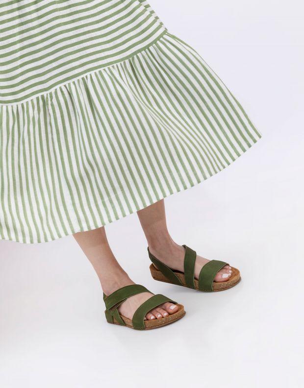 נעלי נשים - El Naturalista - סנדלי עור BALANCE - ירוק