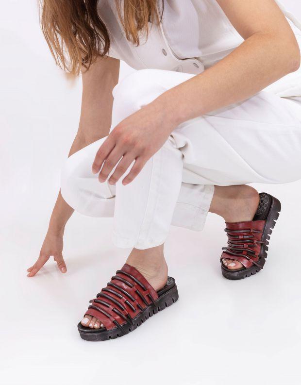 נעלי נשים - Papucei - כפכפי עור DEMOS - אדום