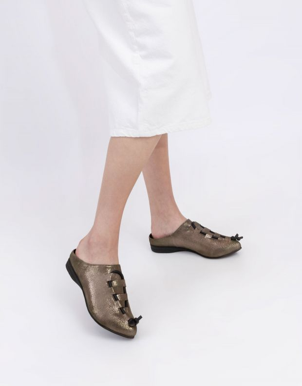 נעלי נשים - Papucei - כפכפי עור KAMARI - זהב