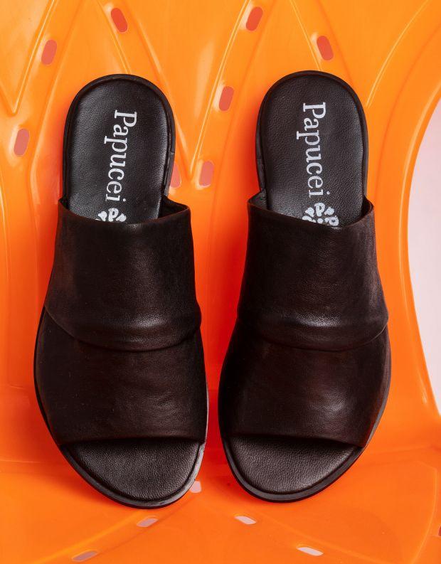 נעלי נשים - Papucei - כפכפי עור VANDA - שחור חלק