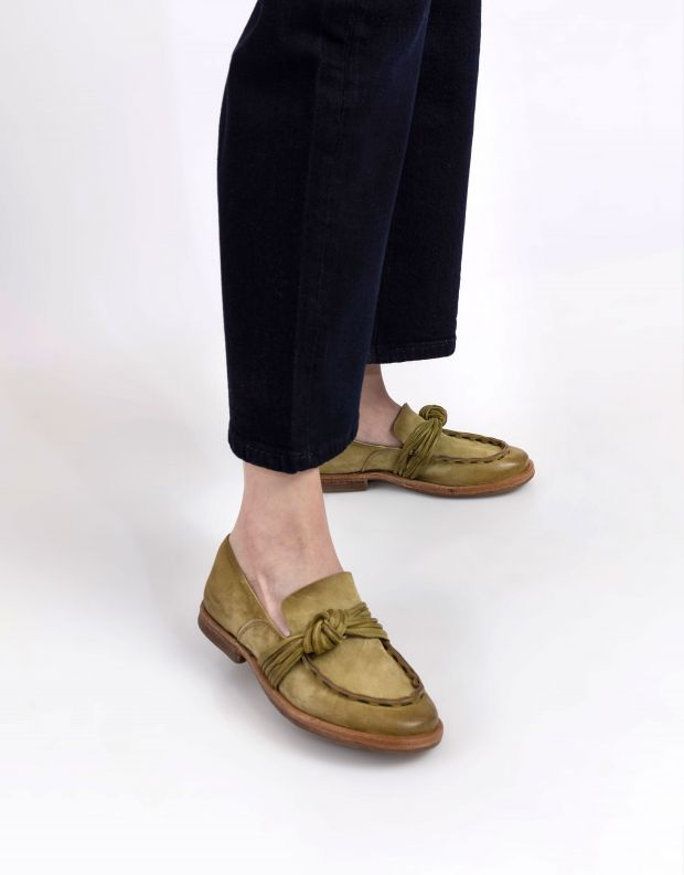 נעלי נשים - A.S. 98 - מוקסינים עם קשר ZEPORT - ירוק