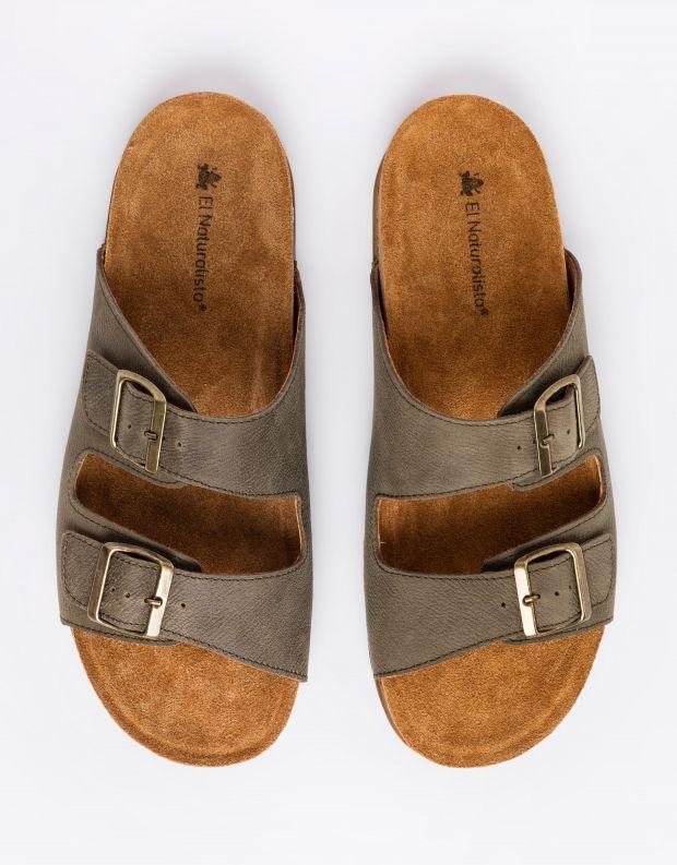 נעלי גברים - El Naturalista - כפכפי עור BALANCE - חאקי