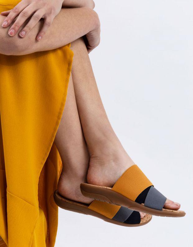 נעלי נשים - NR Rapisardi - כפכפי רצועות שטוחים CRAS - אפור   צהוב