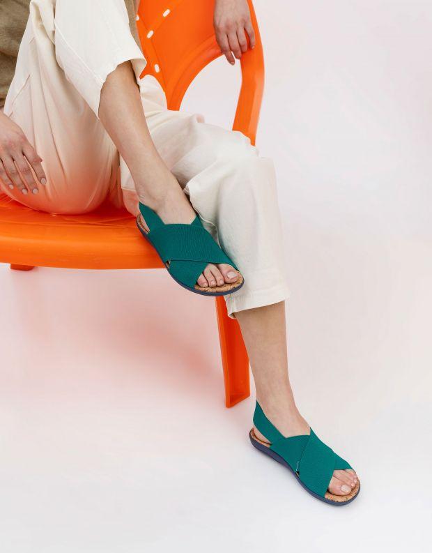 נעלי נשים - NR Rapisardi - סנדלי איקס שטוחים CRES - טורקיז