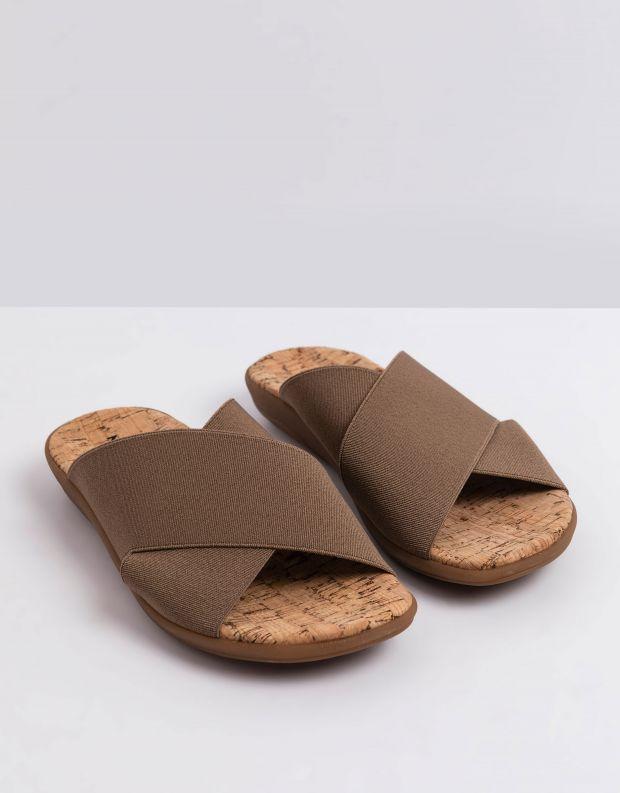 נעלי נשים - NR Rapisardi - כפכפי איקס שטוחים CROS - חום בהיר
