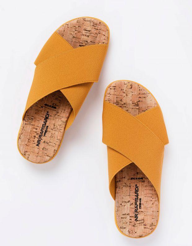 נעלי נשים - NR Rapisardi - כפכפי איקס שטוחים CROS - חרדל