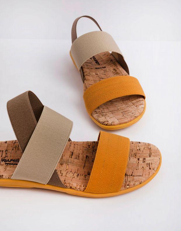 נעלי נשים - NR Rapisardi - סנדלי רצועות שטוחים CRUS - צהוב   חום