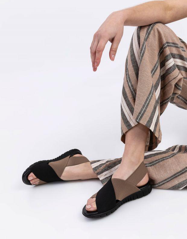 נעלי נשים - NR Rapisardi - סנדלים משולבים LESLIE - שחור חום