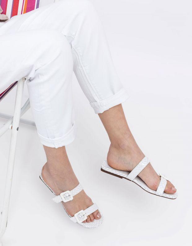 נעלי נשים - Schutz - כפכפי רצועות STELLA נחש - לבן