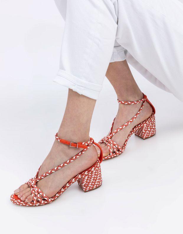 נעלי נשים - Schutz - סנדלי עקב קלועים HARPER - כתום