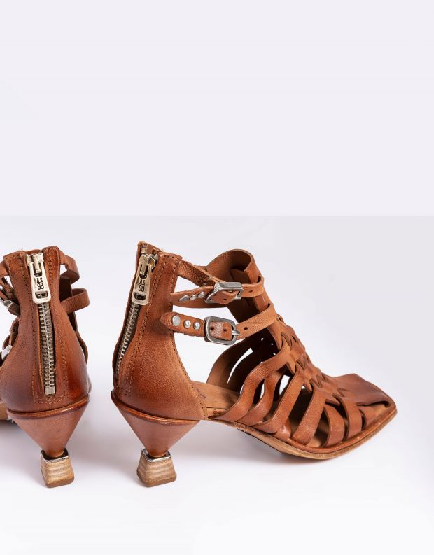נעלי נשים - A.S. 98 - סנדלי עקב קלועים HEAR - חום