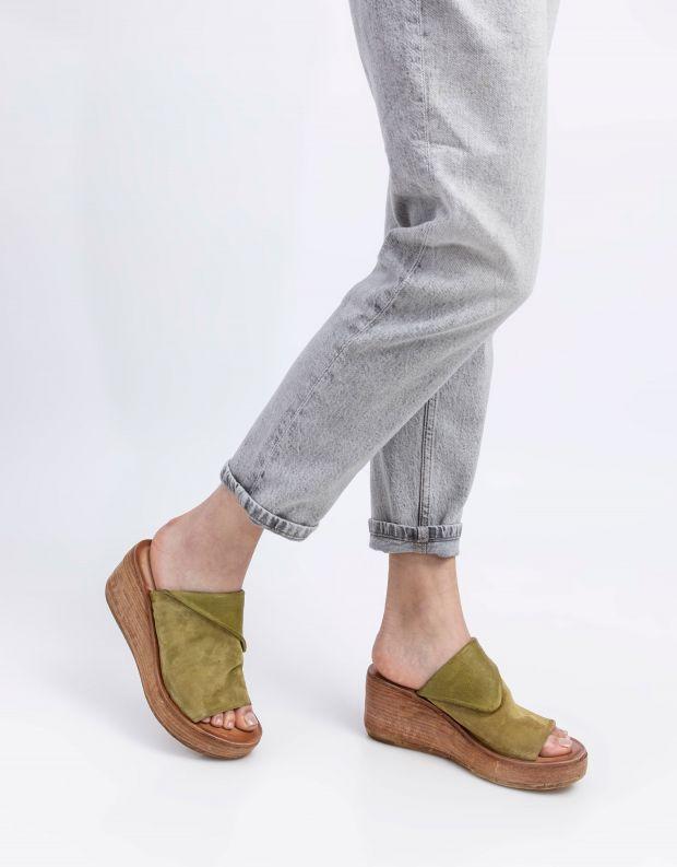 נעלי נשים - A.S. 98 - כפכפי פלטפורמה NOA - ירוק