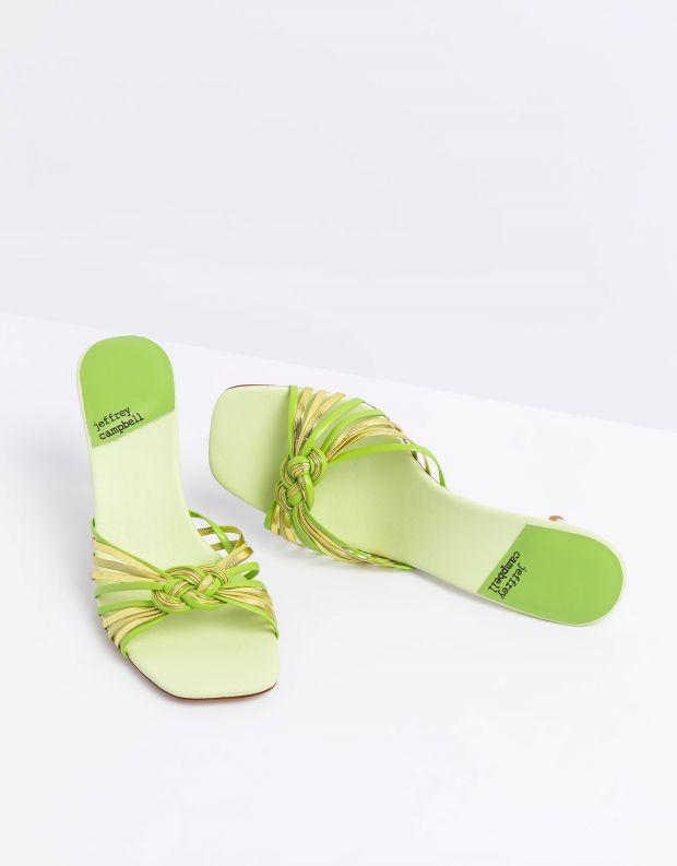 נעלי נשים - Jeffrey Campbell - כפכפי עקב מטאליים FARIS - ירוק