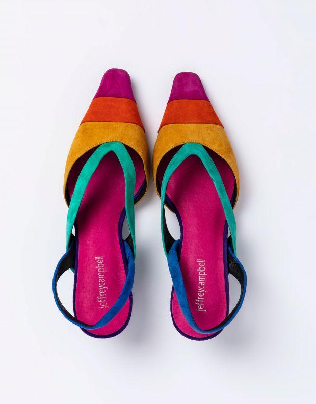 נעלי נשים - Jeffrey Campbell - סנדלי זמש רצועות EIGHT - צבעוני