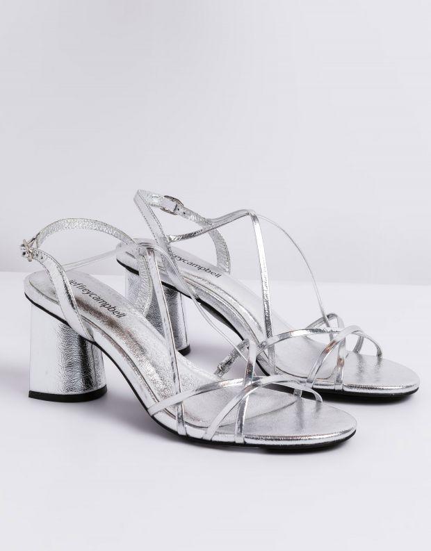 נעלי נשים - Jeffrey Campbell - סנדלי עקב MACRAME - כסף