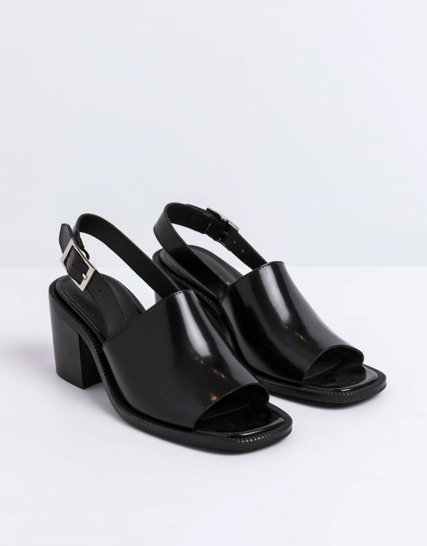 נעלי נשים - Jeffrey Campbell - סנדלי עקב עם אבזם FLANDER - שחור