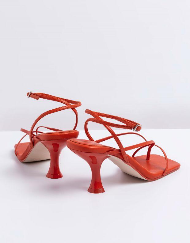 נעלי נשים - Jeffrey Campbell - סנדלי עקב עם רצועות FLUXX - כתום