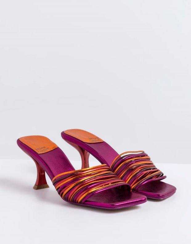 נעלי נשים - Jeffrey Campbell - כפכפי עקב מטאליים MR BIG2 - סגול