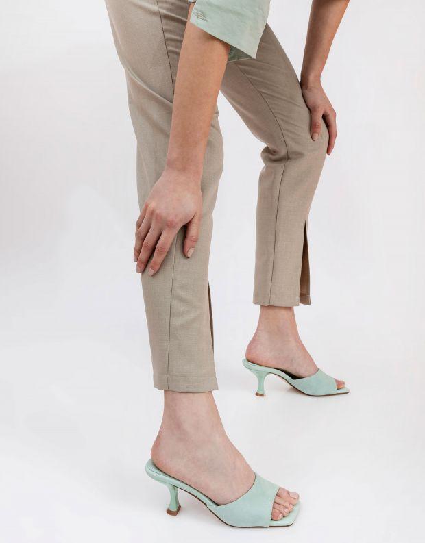 נעלי נשים - Jeffrey Campbell - כפכפי זמש עם עקב MR BIG - מנטה