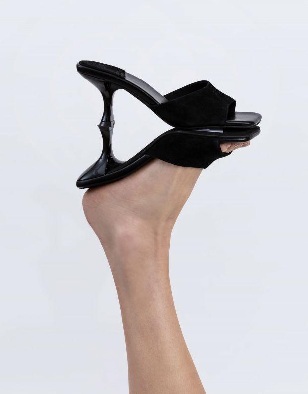 נעלי נשים - Jeffrey Campbell - כפכפי זמש עם עקב MR BIG - שחור