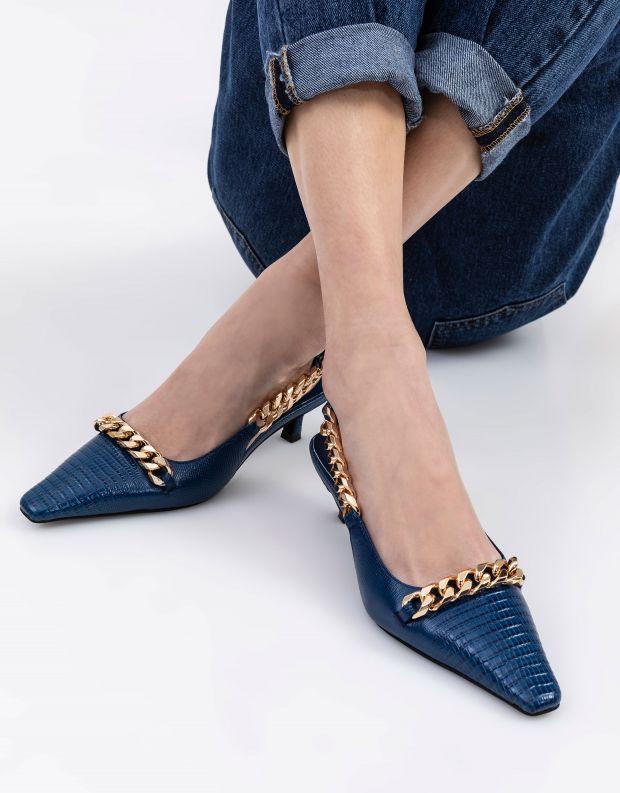 נעלי נשים - Jeffrey Campbell - נעלי סירה עם שרשרת  RYKA - כחול