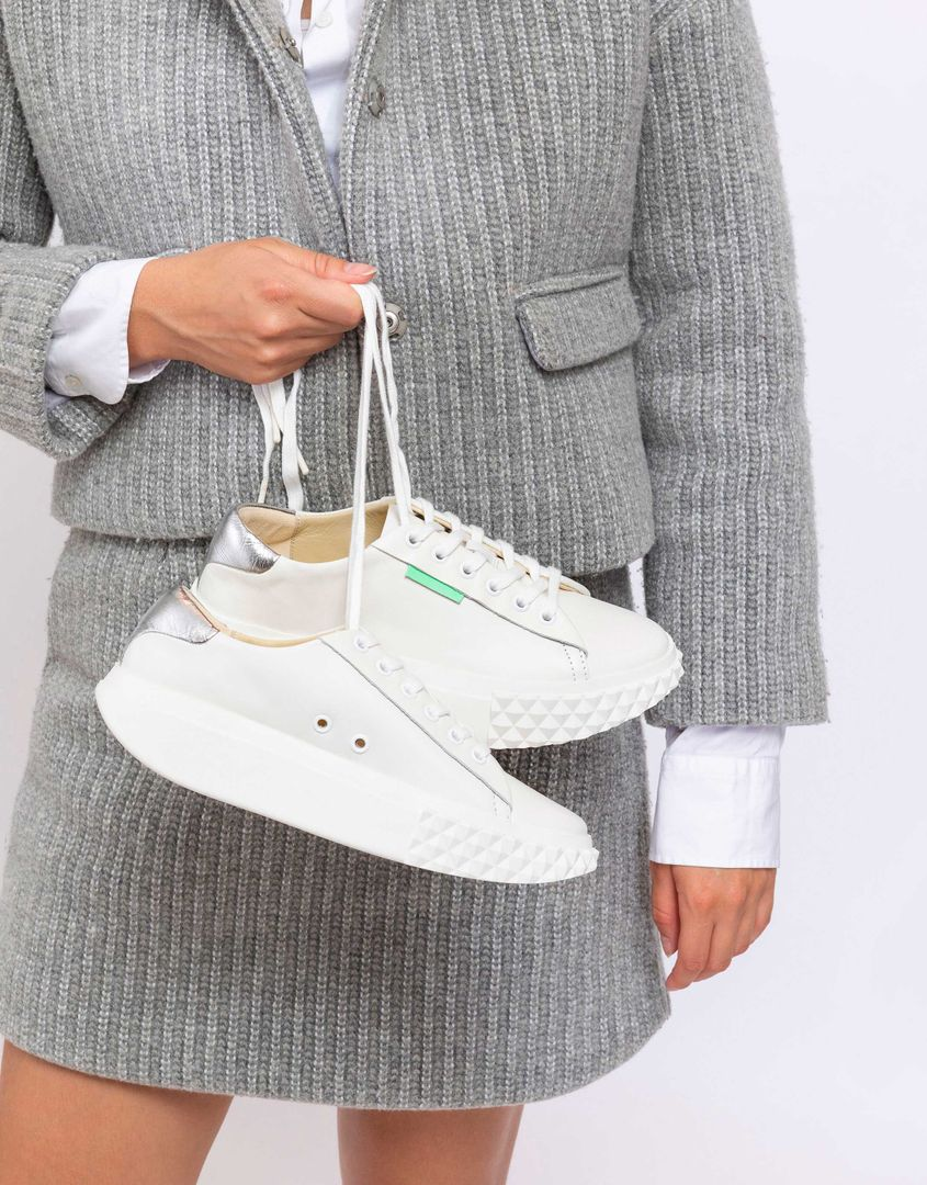 נעלי נשים - 4CCCCEES - סניקרס פלטפורמה BILLOW - לבן