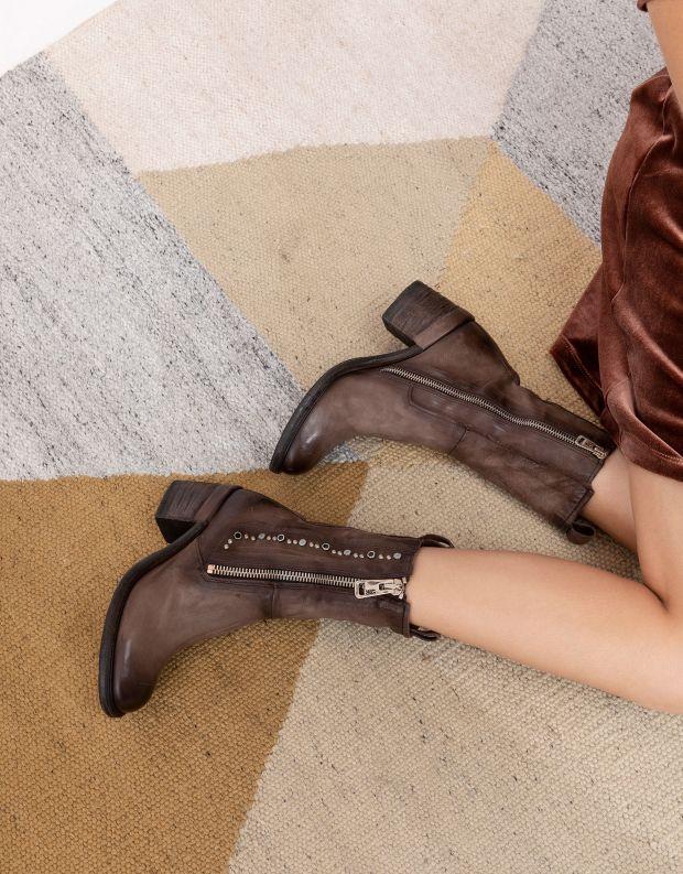 נעלי נשים - A.S. 98 - מגפיים JAMAL רוכסן וניטים - חום כהה