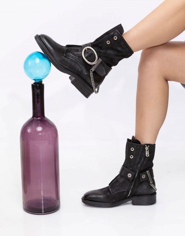 נעלי נשים - A.S. 98 - מגפונים עם אבזם FLOWER - שחור