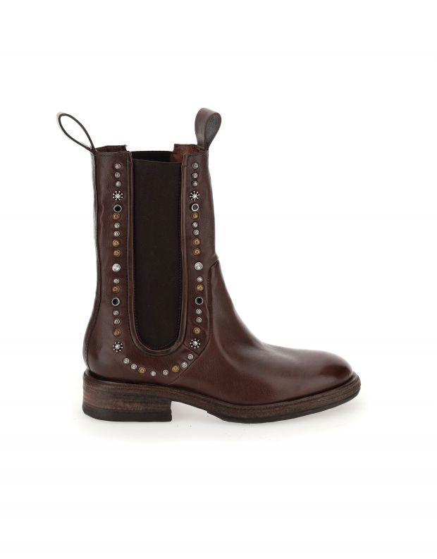 נעלי נשים - A.S. 98 - מגפיים עם ניטים FLOWER - חום כהה