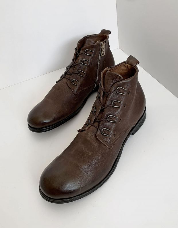 נעלי גברים - A.S. 98 - נעליים CLASH לולאות מתכת - חום כהה