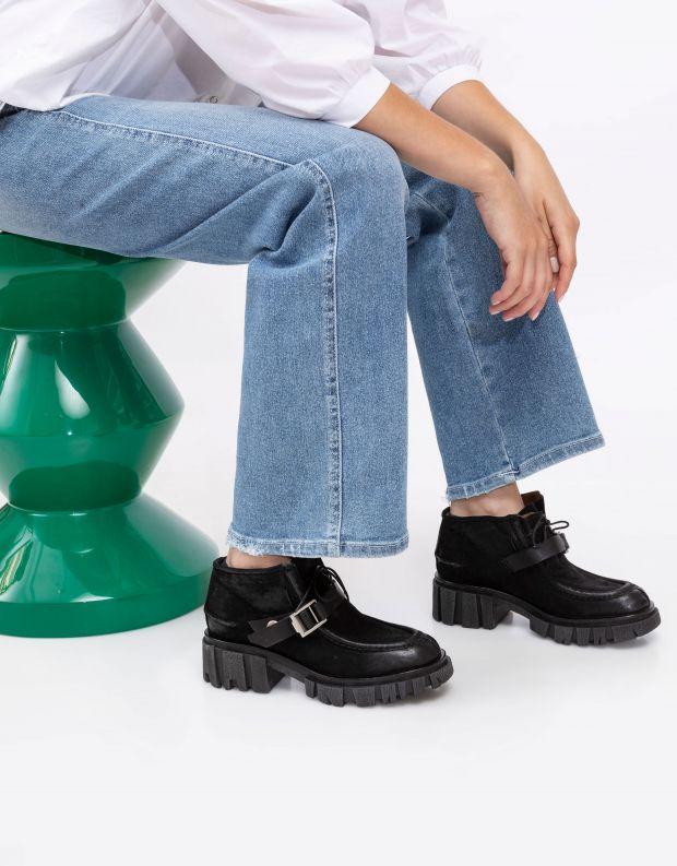 נעלי נשים - A.S. 98 - מגפוני עור עם אבזם HELL - שחור
