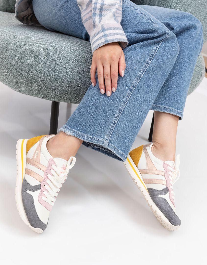 נעלי נשים - Gola - סניקרס DAYTONA QUADRANT - לבן-אפור