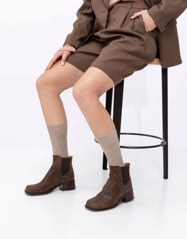 נעלי נשים - Chie Mihara - מגפוני עור עם עקב BANJA - חום