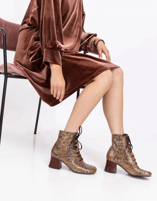 נעלי נשים - Chie Mihara - מגפוני נחש עם שרוכים MALI - חום