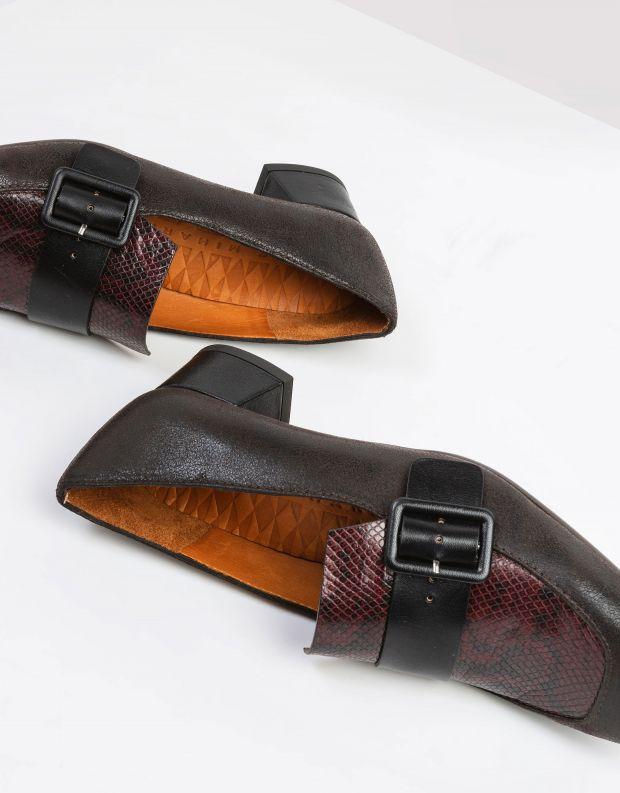 נעלי נשים - Chie Mihara - נעלי מוקסנים עם עקב REVA - חום