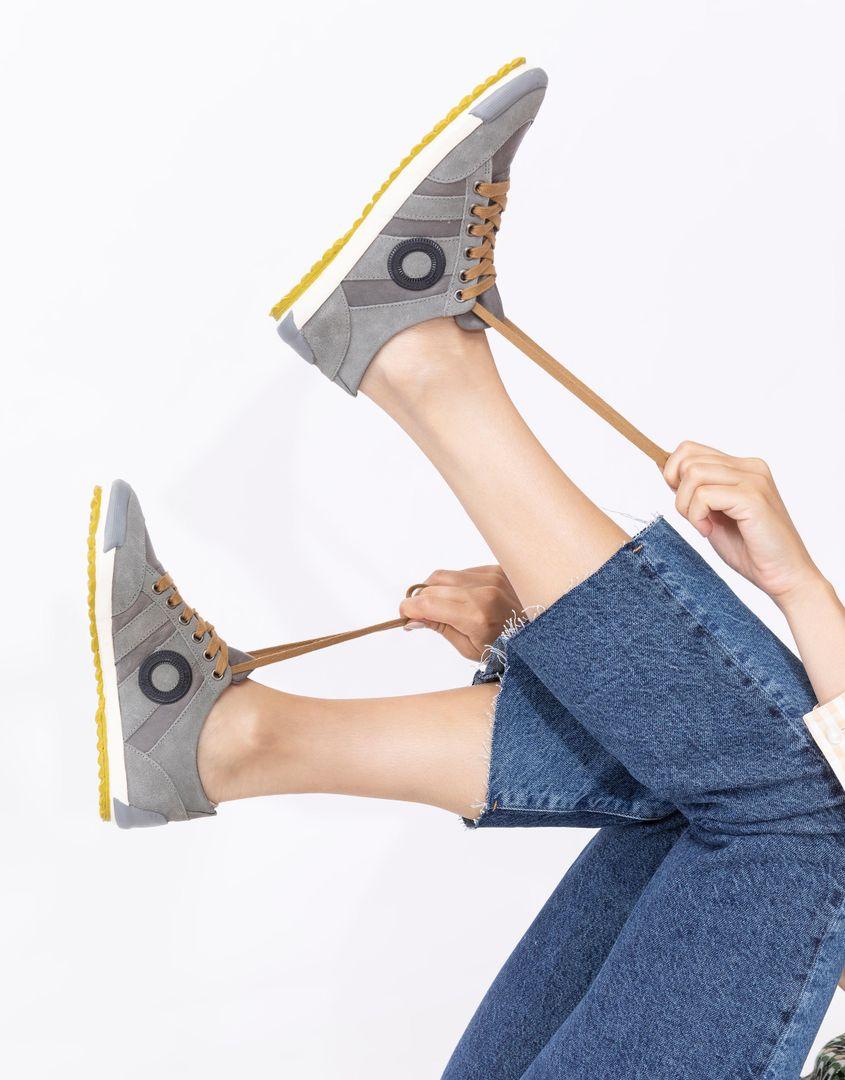 נעלי נשים - Aro - סניקרס IDO B - אפור-צהוב
