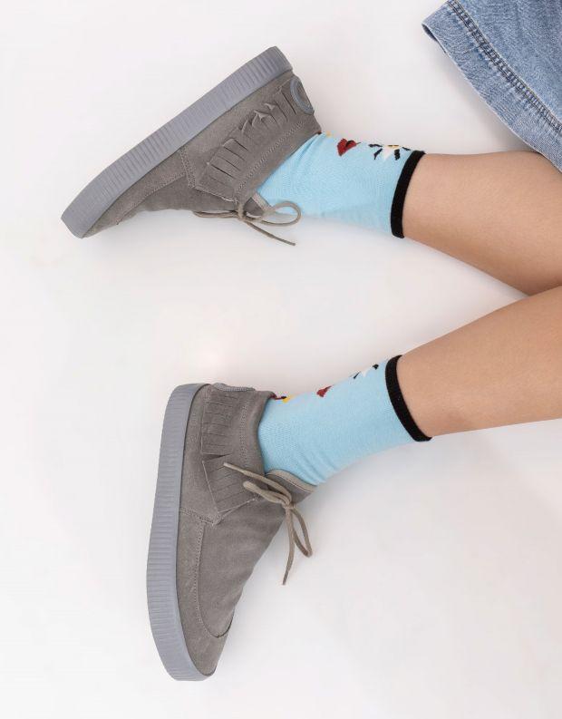 נעלי נשים - Aro - נעליים עם פרנזים NOELLE - אפור בהיר